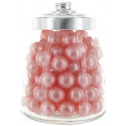 100 Perles de Bain parfum Rose avec Bocal en verre forme bonbonnière