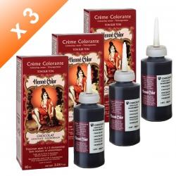 Lot de 3 Crèmes colorantes Chocolat Henné Color - 90ml