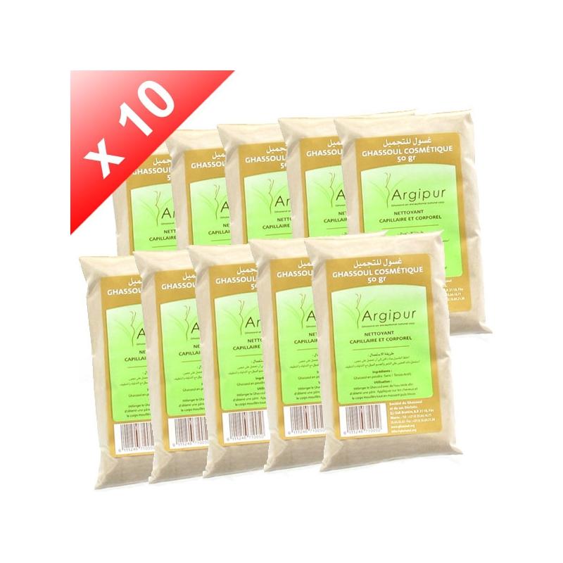 Lot de 10 Ghassouls (Rhassoul) en poudre - dosette de 50gr
