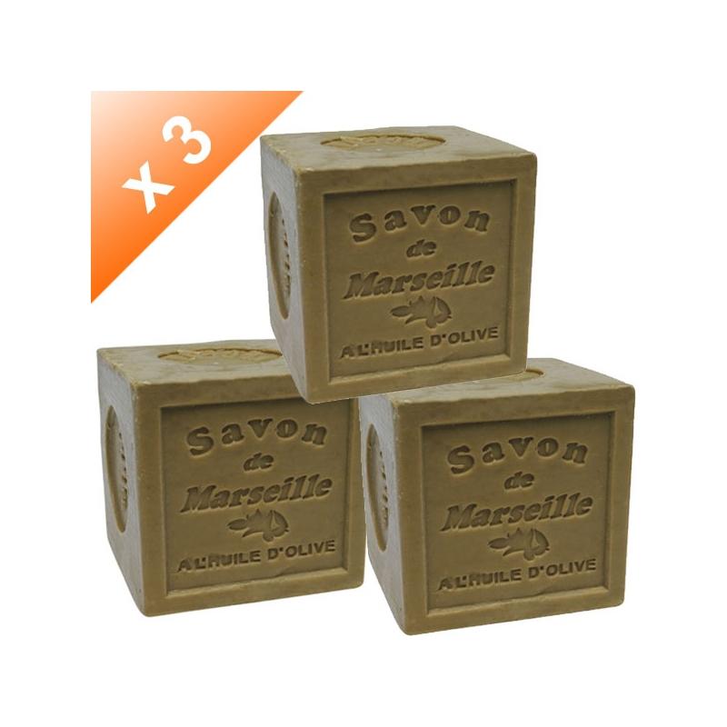 Lot de 3 Savons de Marseille cube 72% Olive - 300gr