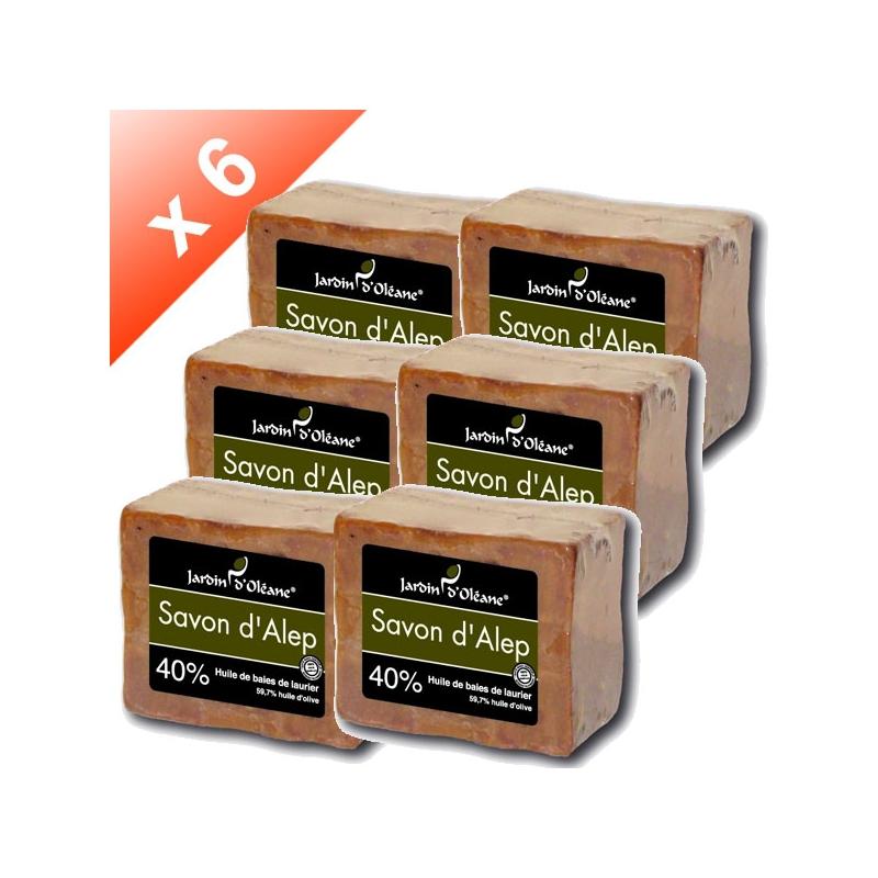 Lot de 6 Savons d'Alep 40% baies de laurier - 180gr