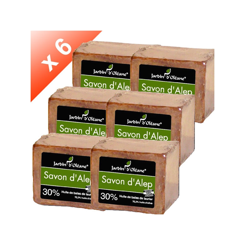 Lot de 6 Savons d'Alep 30% baies de laurier - 180gr