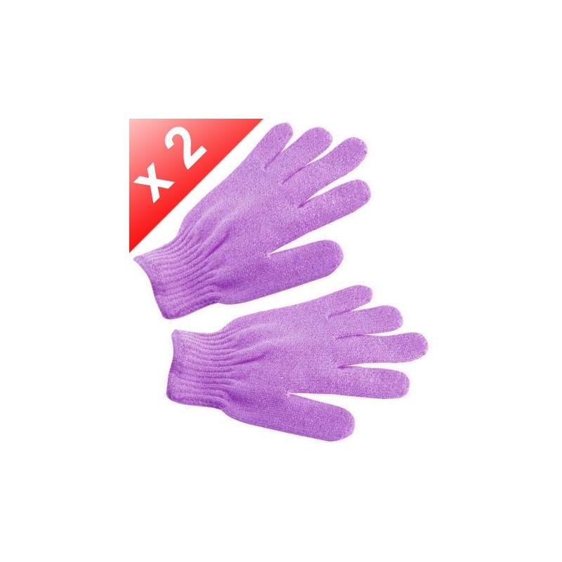 Lot de 2 Gants de gommage - Violet