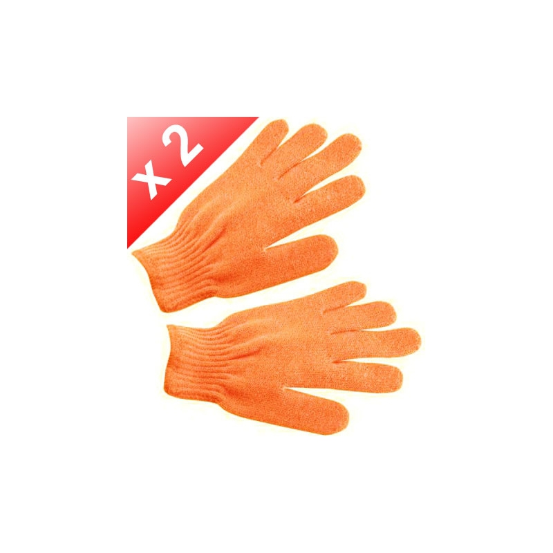 Lot de 2 Gants de gommage - Orange