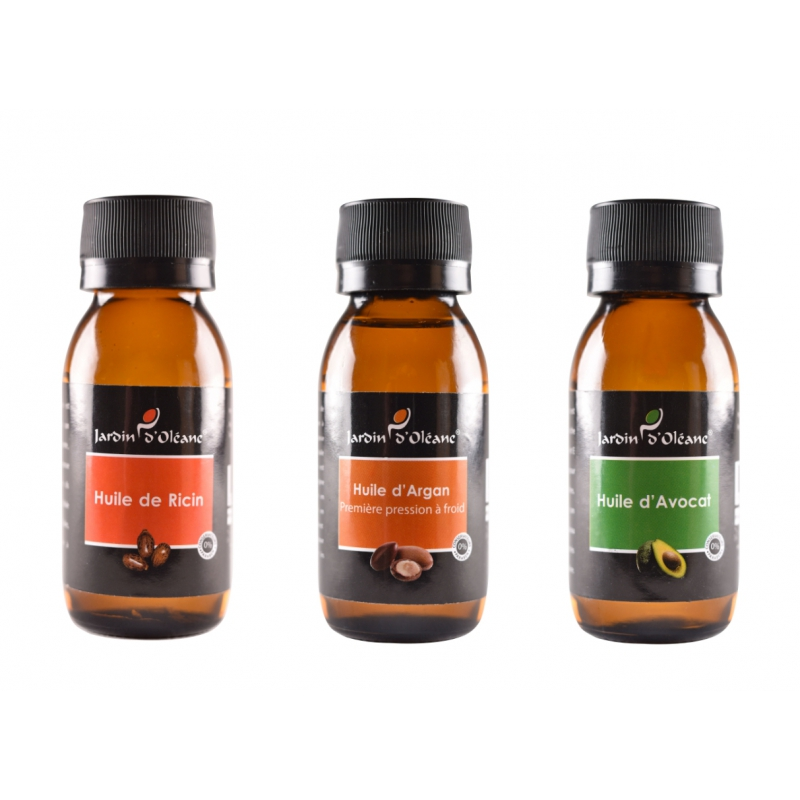 Lot 3 Huile Pure Ricin/Argan/Avocat 60 ML