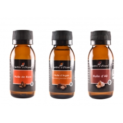 Lot 3 Huile Pure Ricin/Argan/Ail 60 ML